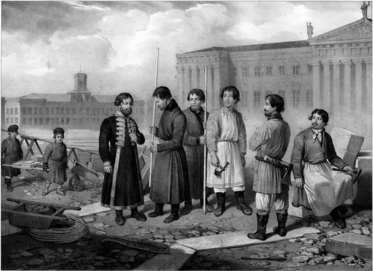 портрет рабочих доставивших колонну