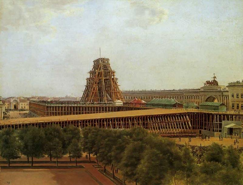 Подъем Александровской колонны. 1832