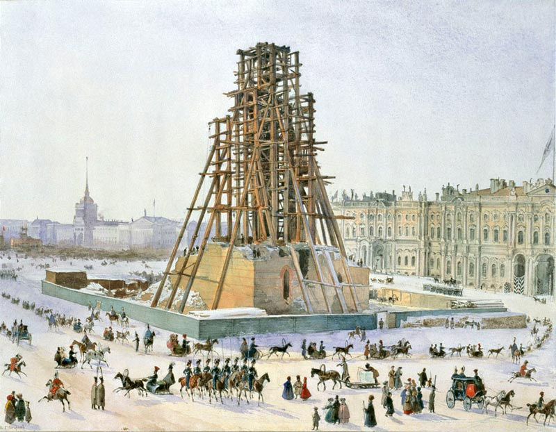 Александрийская колонна в лесах. 1832