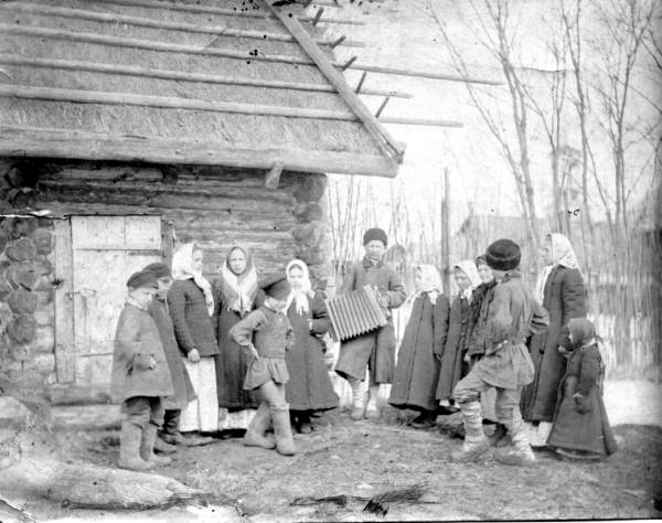 Гуляние крестьянских детей. Неизв. автор. 1910-е